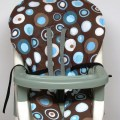 Graco high chair cover pad replacement blue party dots on brown