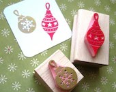 Christmas Stamp - Set of Two Baubles Hand Carved Rubber Stamps - skullandcrossbuns