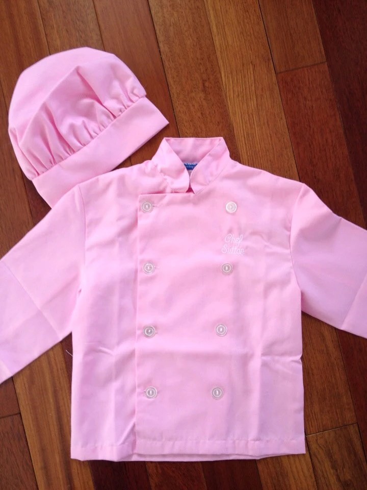 kids pretend kitchen samsung now in pink personalized chef jacket hat for use or