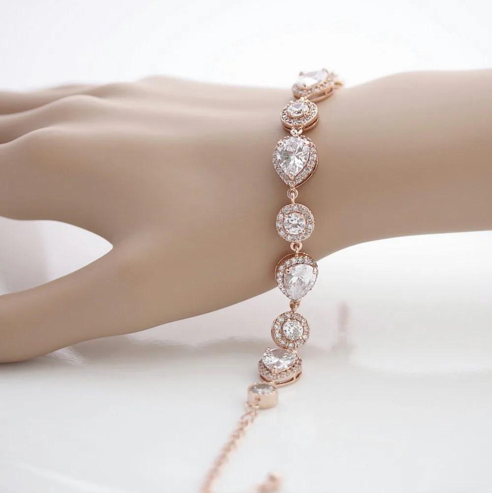 Rose Gold Bridal Bracelet Wedding Jewelry Wedding Bracelet