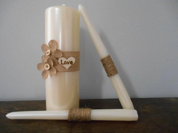 Rustic Wedding Unity Candle Set Ivory White Burlap