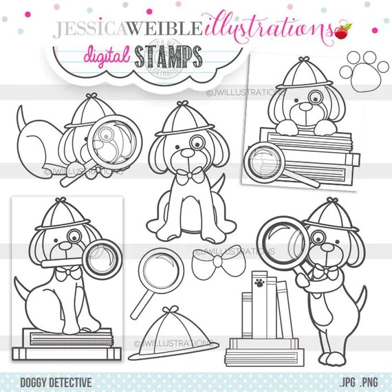 Doggie digital coloring page from etsy