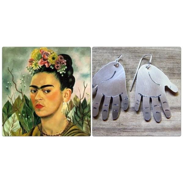 Metal Hand Earrings Frida Kahlo Inspired