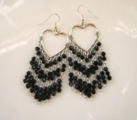 Long Black Crystal Chandelier Earrings Black Earrings