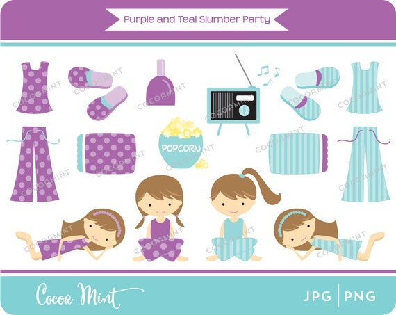 purple and teal slumber party clip