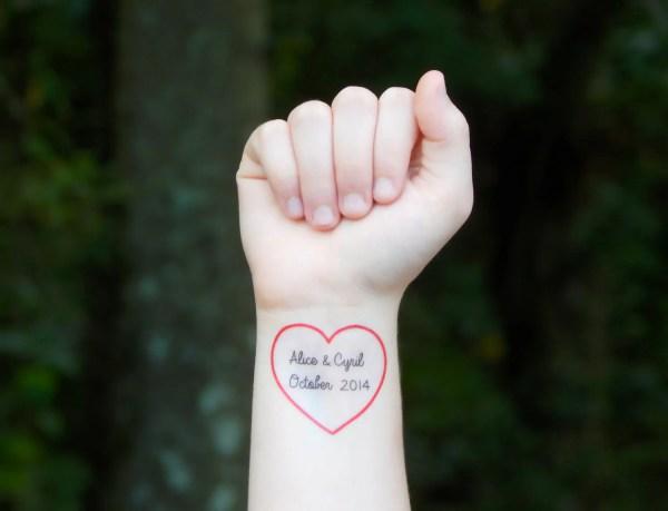custom heart temporary tattoo red