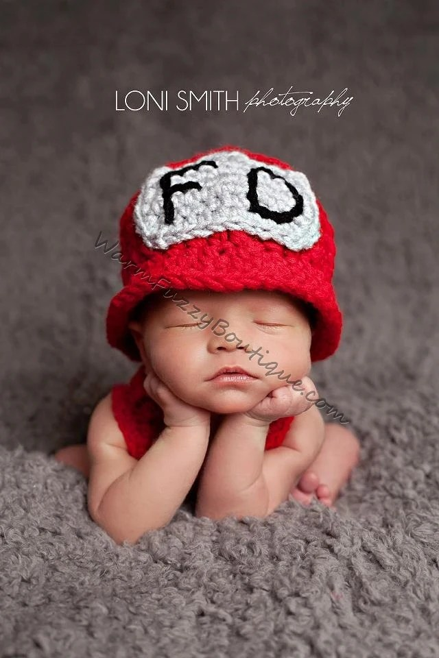 Firefighter Hat Crochet Newborn Baby Beanie Boy Girl Costume