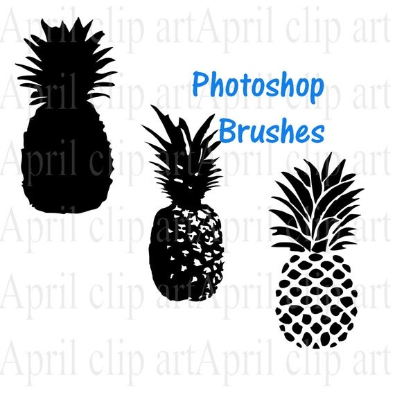 Photoshop Brushes and png, Pineapple in Silhouette, Clip