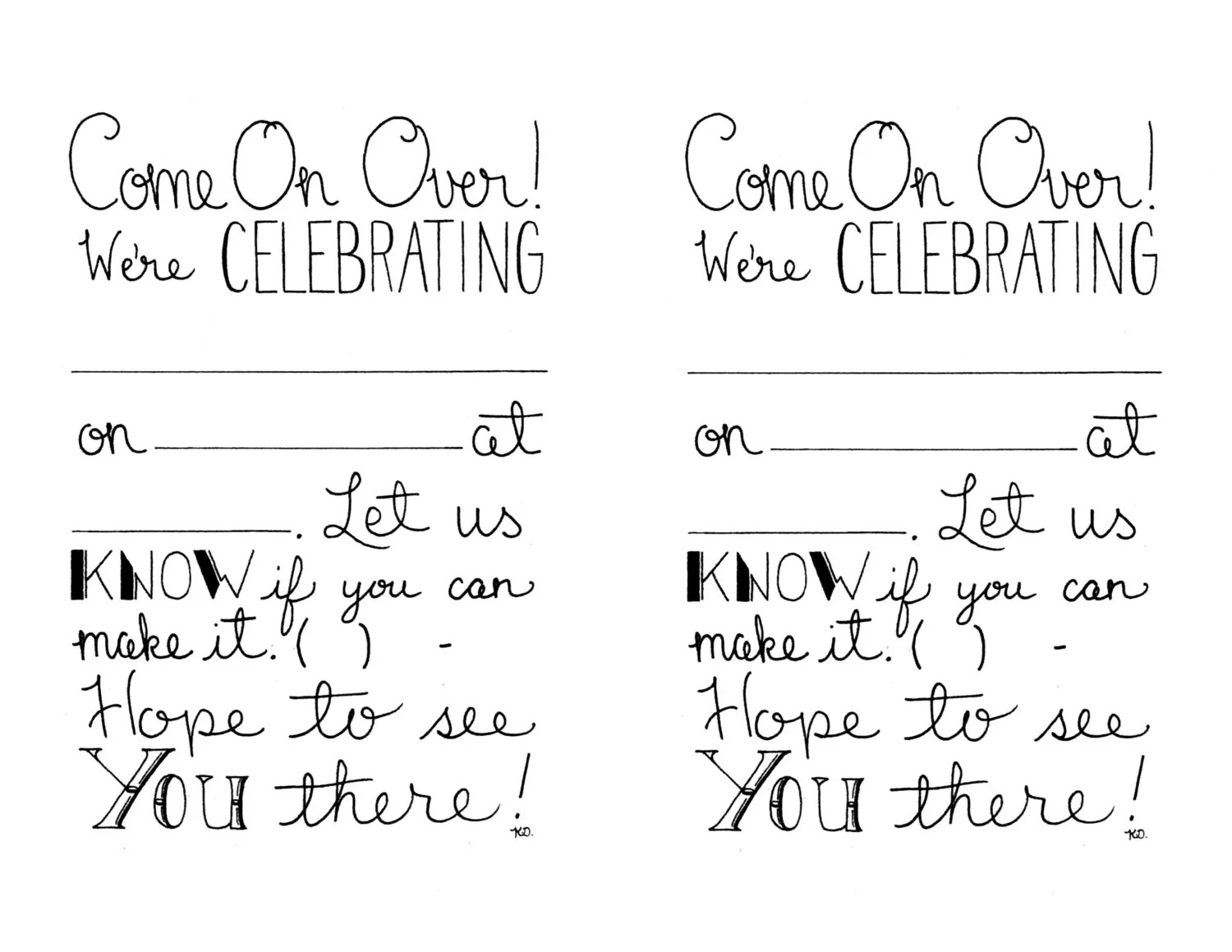 Items similar to Printable Party Invitations, Fill In