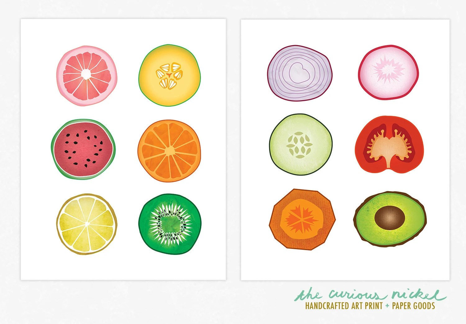 Fruits and Vegetables Collage Prints Art by TheCuriousNickel