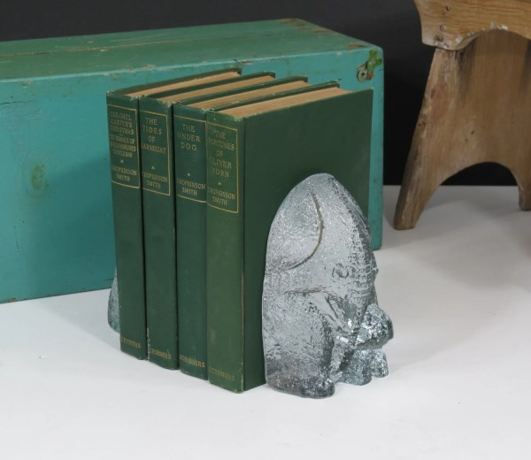 Blenko Glass Elephant Mother & Baby Bookends Part Of
