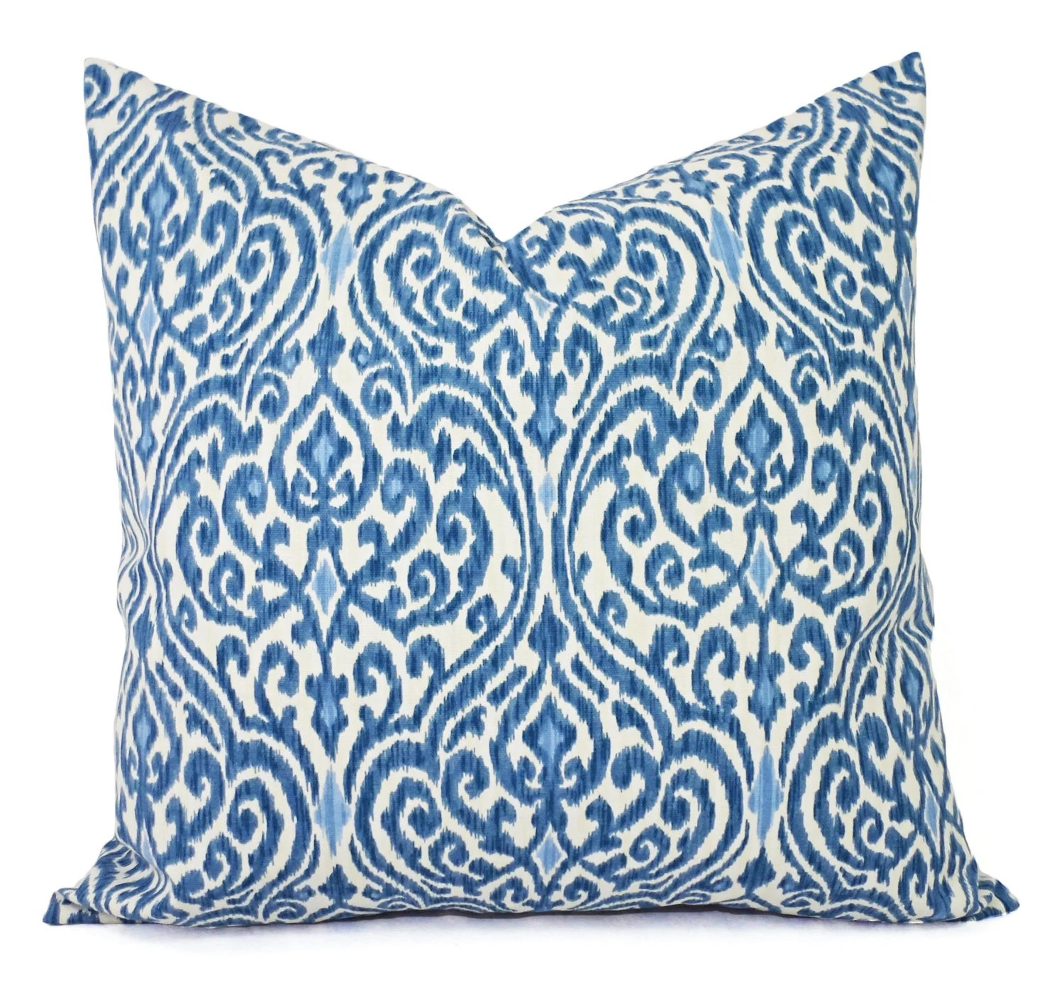 Two Decorative Throw Pillow Covers Blue and Beige Ikat