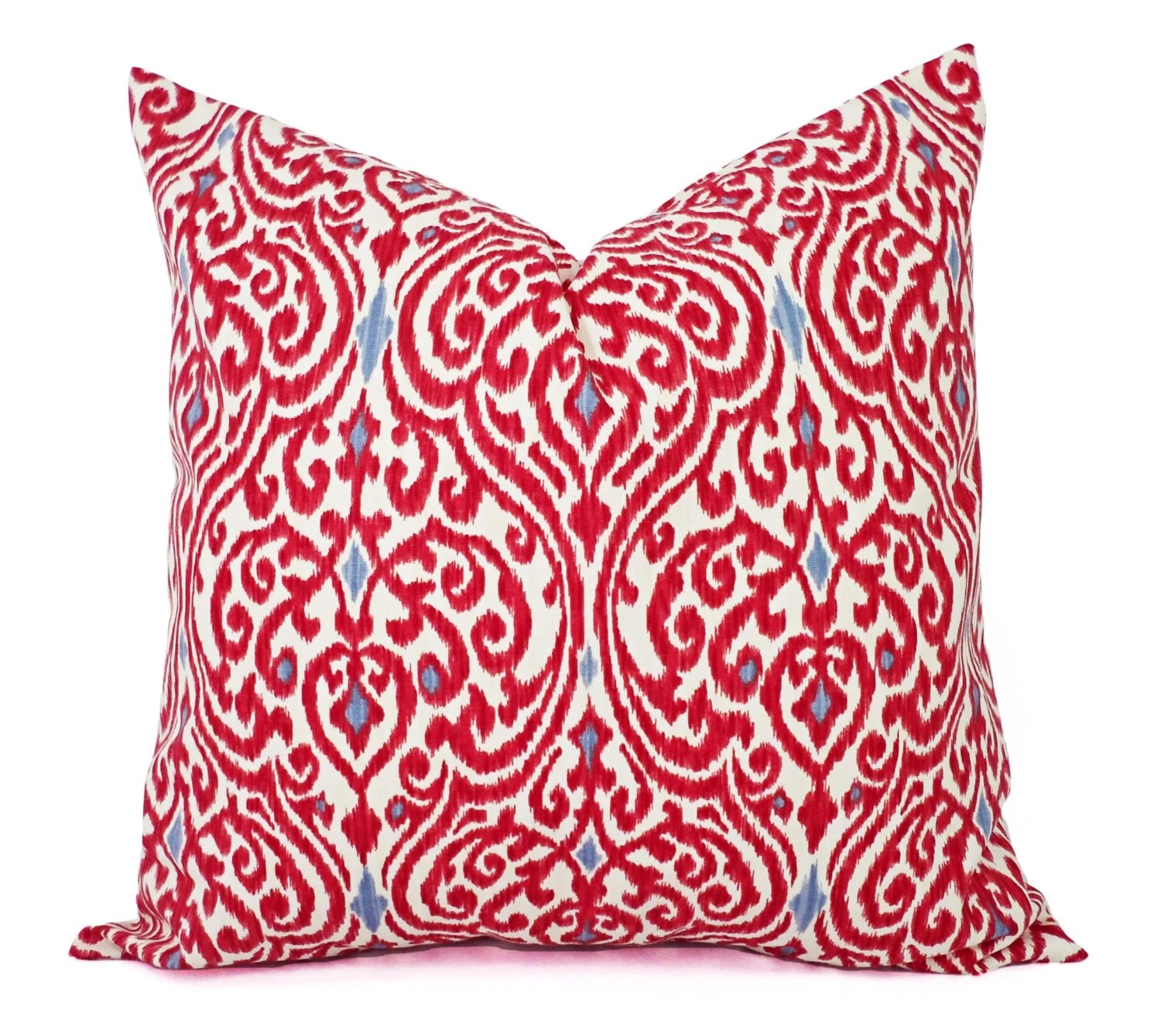 Two Decorative Throw Pillow Covers Red and Beige Ikat