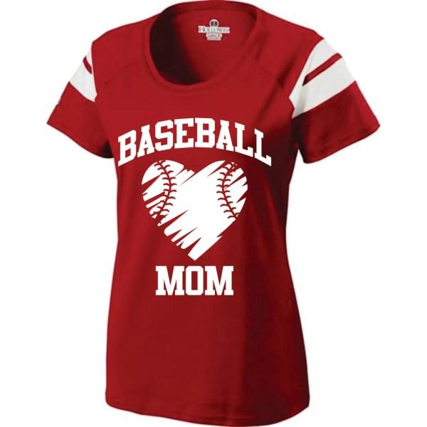 Short Sleeve Screen Printed Baseball Mom T-shirt