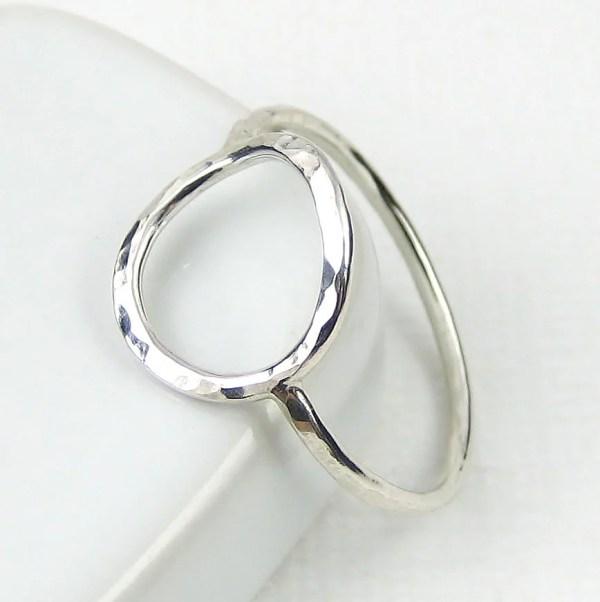 Sterling Silver Circle Ring Hammered Karma