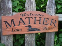 Outdoor Family Lake House Sign Personalized Custom Carved