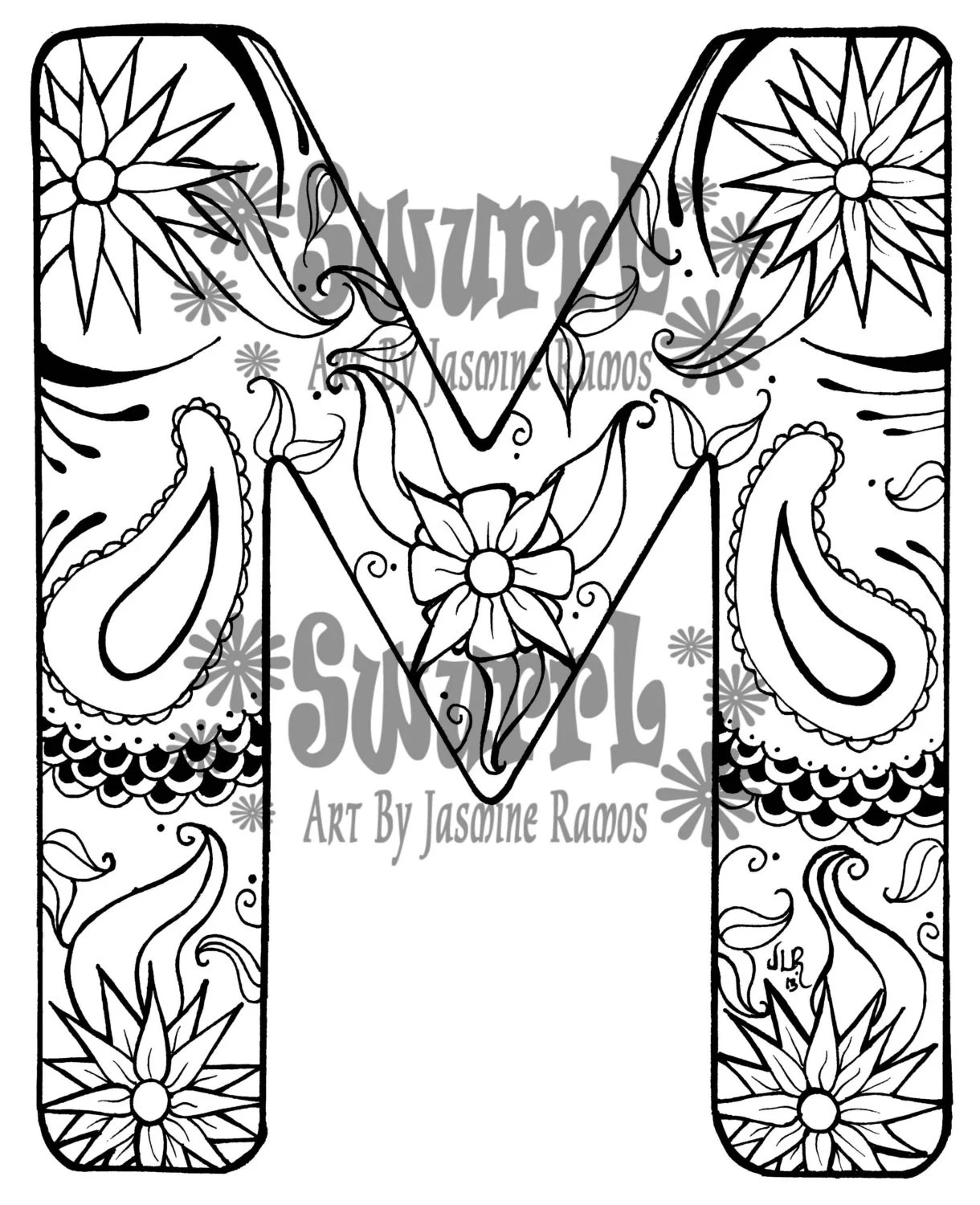 Items similar to Instant Download Coloring Page Monogram