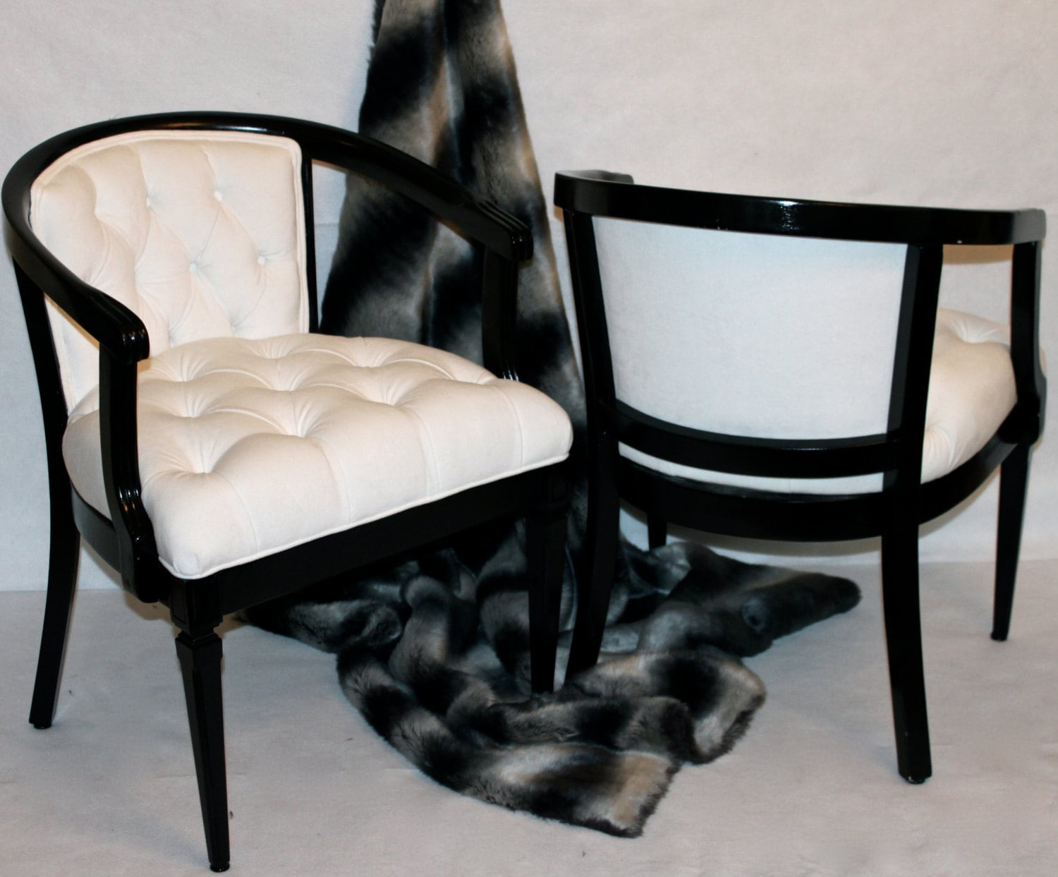 White Barrel Chair Sold Can Replicate Pair Of Vintage White Velvet Barrel Chairs