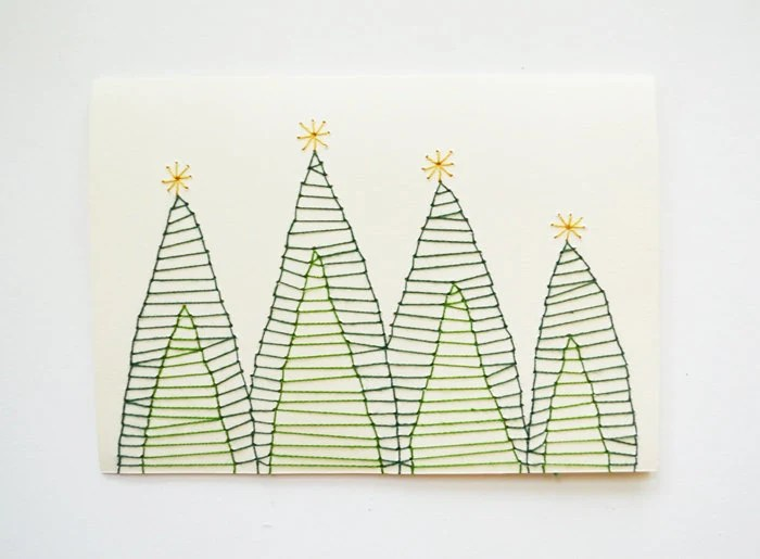 SET OF 3 Hand Stitched Christmas Tree Note Cards - SarahKBenning
