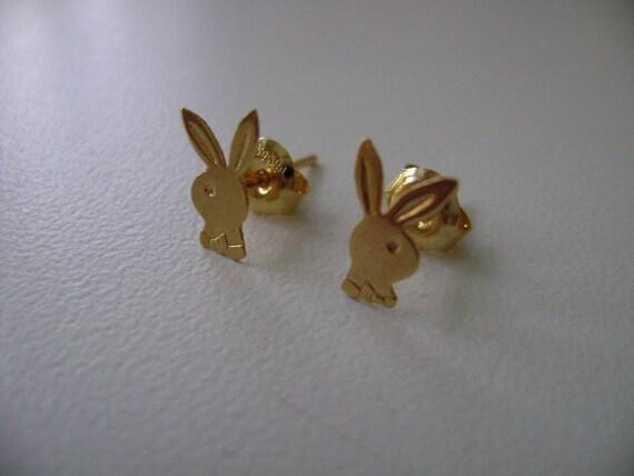 14k yellow gold Playboy bunny earrings Playboy earrings