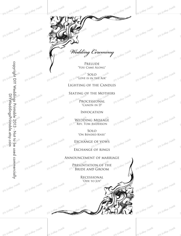Wedding program template black & white wedding program Black