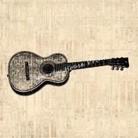 Acoustic Guitar Art Antique Artwork Music Wall Art Vintage ...