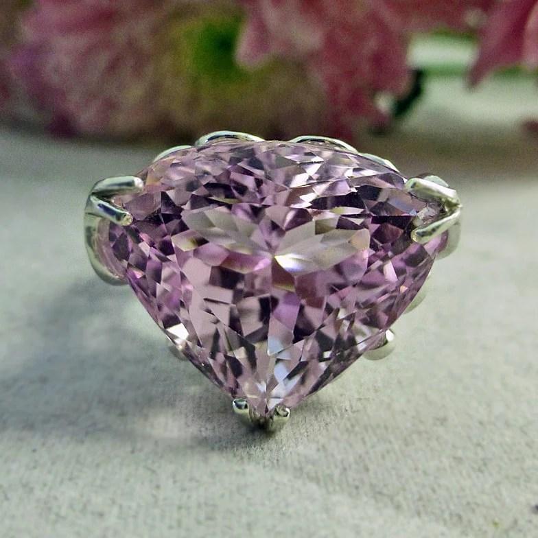 19 ct Pink Kunzite  Diamond Heart Ring in Sterling by