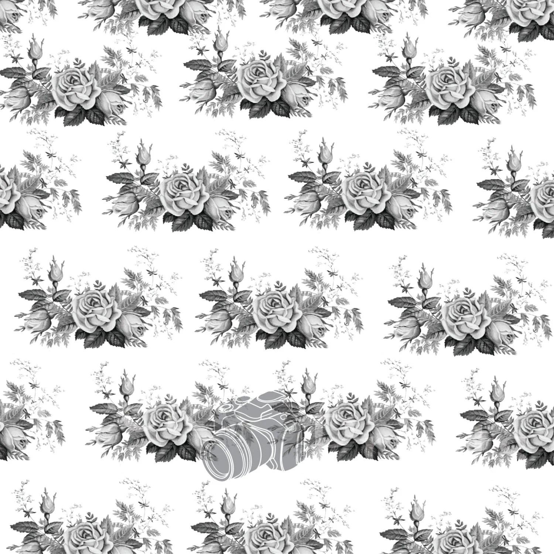 5ft.x5ft. Grey Scale Shabby Vintage Roses Vinyl by PeekPrints