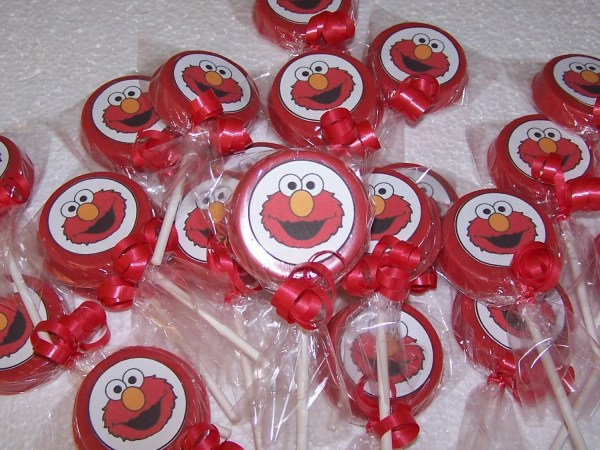 Elmo Face Inspired Chocolate Lollipop Favors.with Favor
