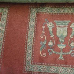 French Country Sofa Fabric Gray With Nailhead Trim Vintage Upholstery Cotton Tapestry Chair