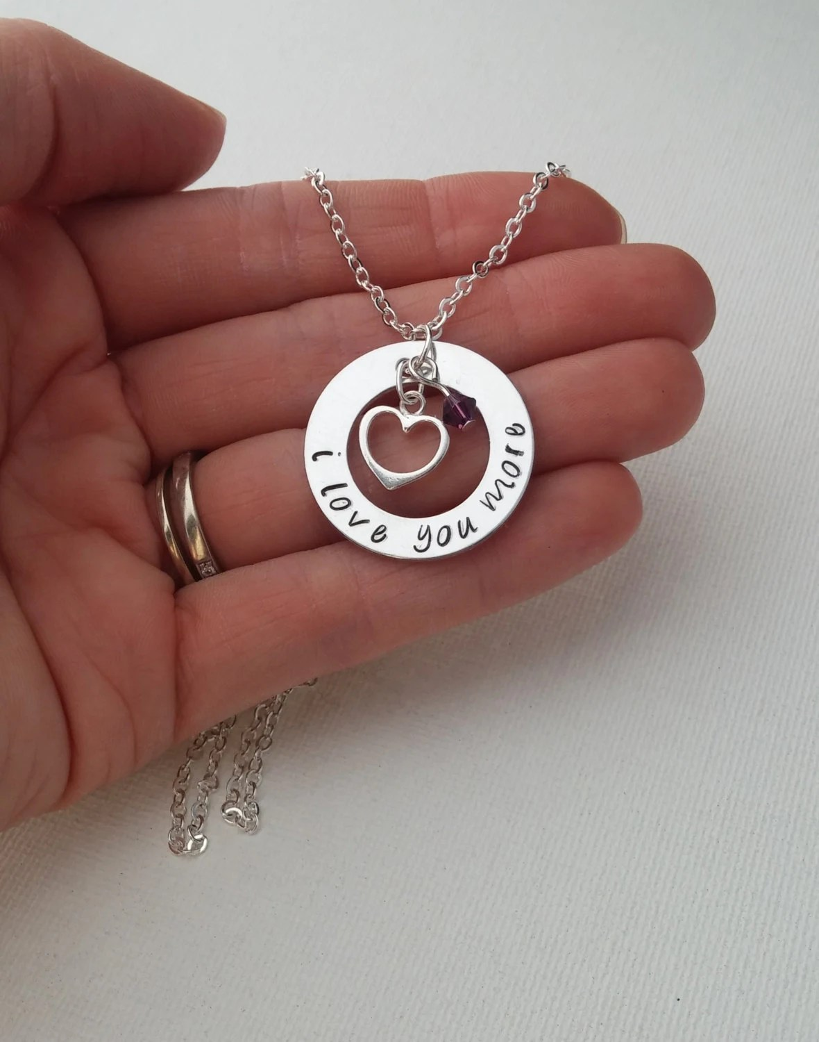 Anniversary Necklace  I Love You More By Gracefullymadestudio