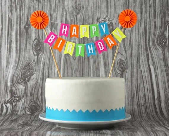 Mini Banner Or Cake Bunting Happy Birthday With Rosette In