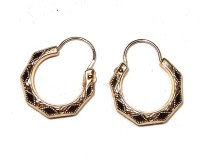 Vintage Small 14K Gold Hoop Earrings Etched Diamond and ...