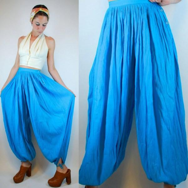 Vintage 70s Gauze Turquoise Blue Cotton Harem Balloon Sheer