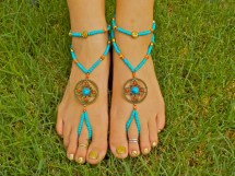 Turquoise And Coral Barefoot Sandals With Matching Anklets