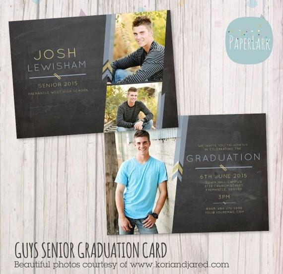 Guys Senior Graduation Card Photoshop By PaperLarkDesigns On Etsy