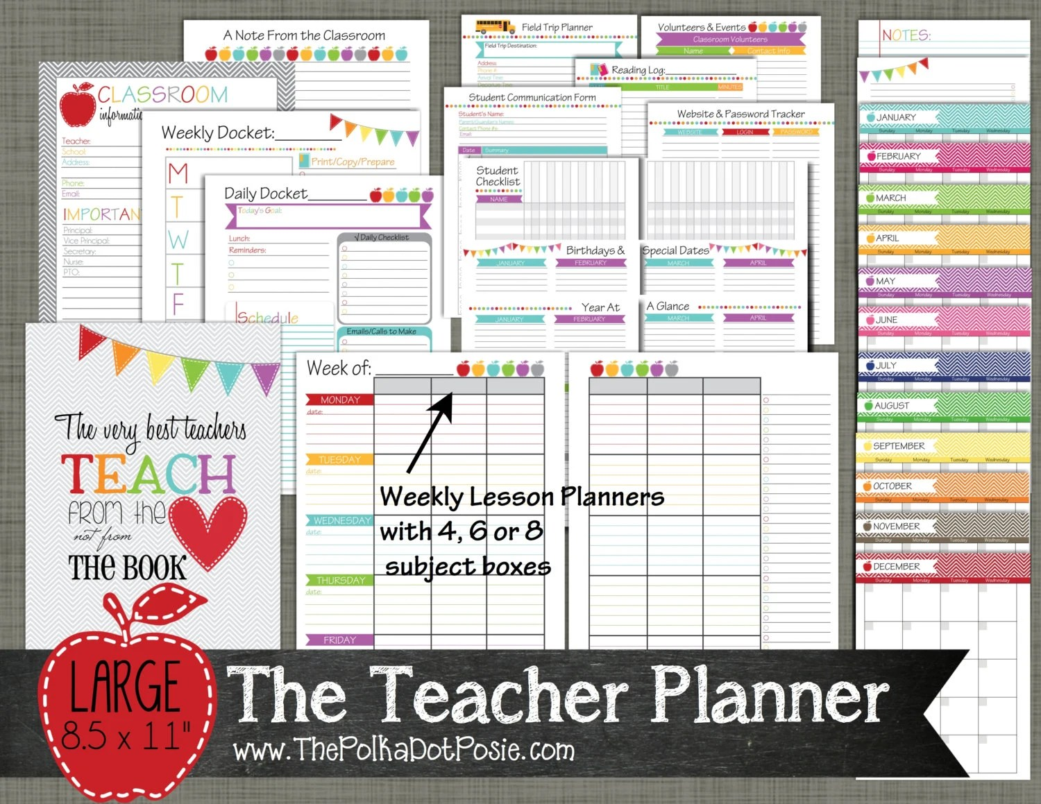 Teacher Planner Printable Set Sized Large By
