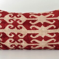 Red Accent Pillows For Sofa Linen Sofas Melbourne Ikat Pillow Lumbar Decorative