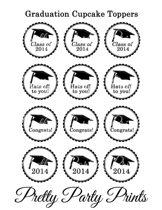 Items similar to SALE Printable Cupcake Toppers Graduation