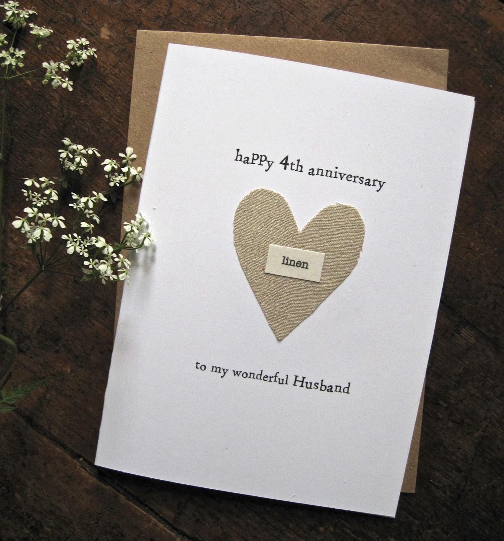 4th Wedding Anniversary Keepsake Card LINEN Traditional Symbol