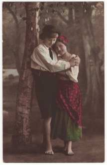 German Postcard Barefoot Teenage Boy And Girl Hug Tinted
