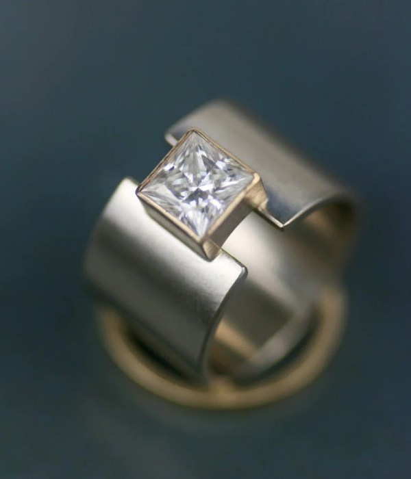 Wedding Band Unique 14k Gold Wide Ring
