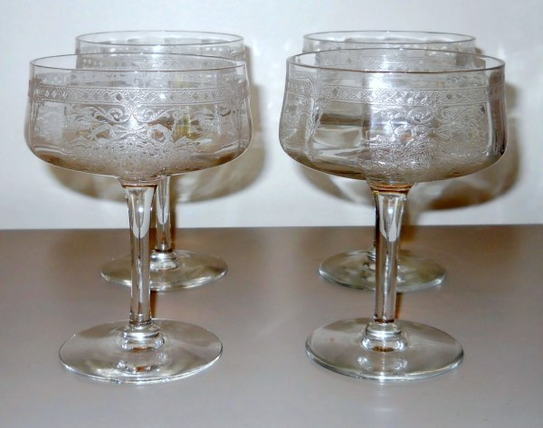 Antique Etched And Cut Crystal Stemware Wine Glasses Vintage
