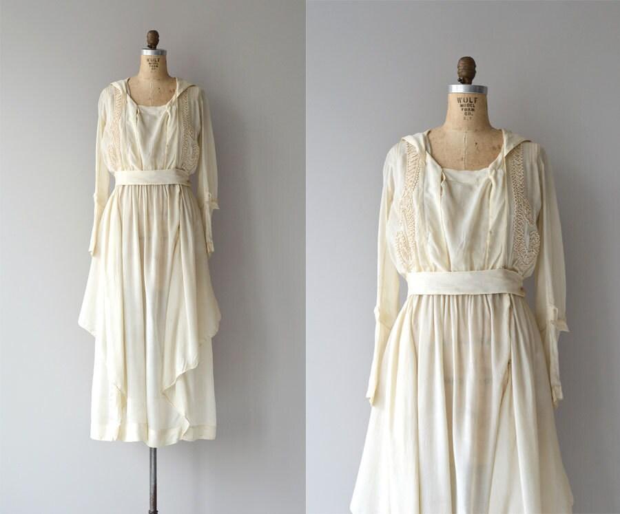 Edwardian Silk Dress Vintage 1920s Dress Cream Silk 20s