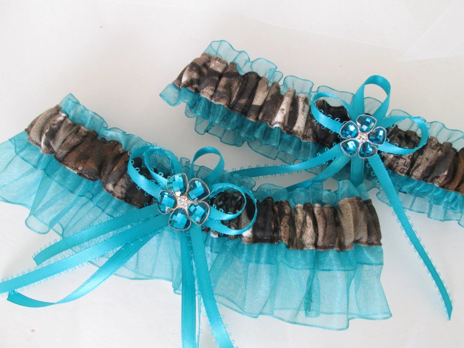 REAL TREE CAMO Wedding Garter Set Teal Prom By