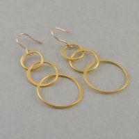 Gold Loop Earrings 14K gold dangle earring by ...