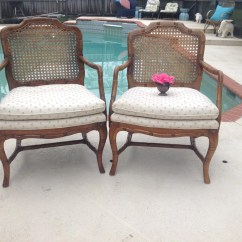 How To Replace Cane Back Chair With Fabric Revolving Bd Price Faux Bamboo Chairs Pair Hollywood Regency