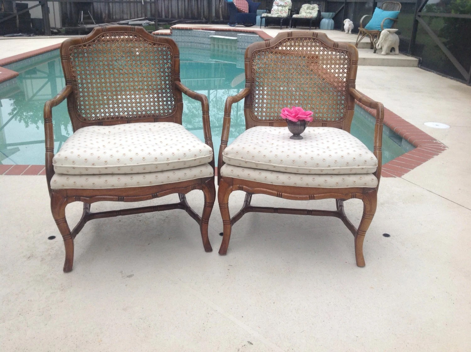 bamboo chairs for sale papasan chair outdoor cushion faux pair cane back hollywood regency