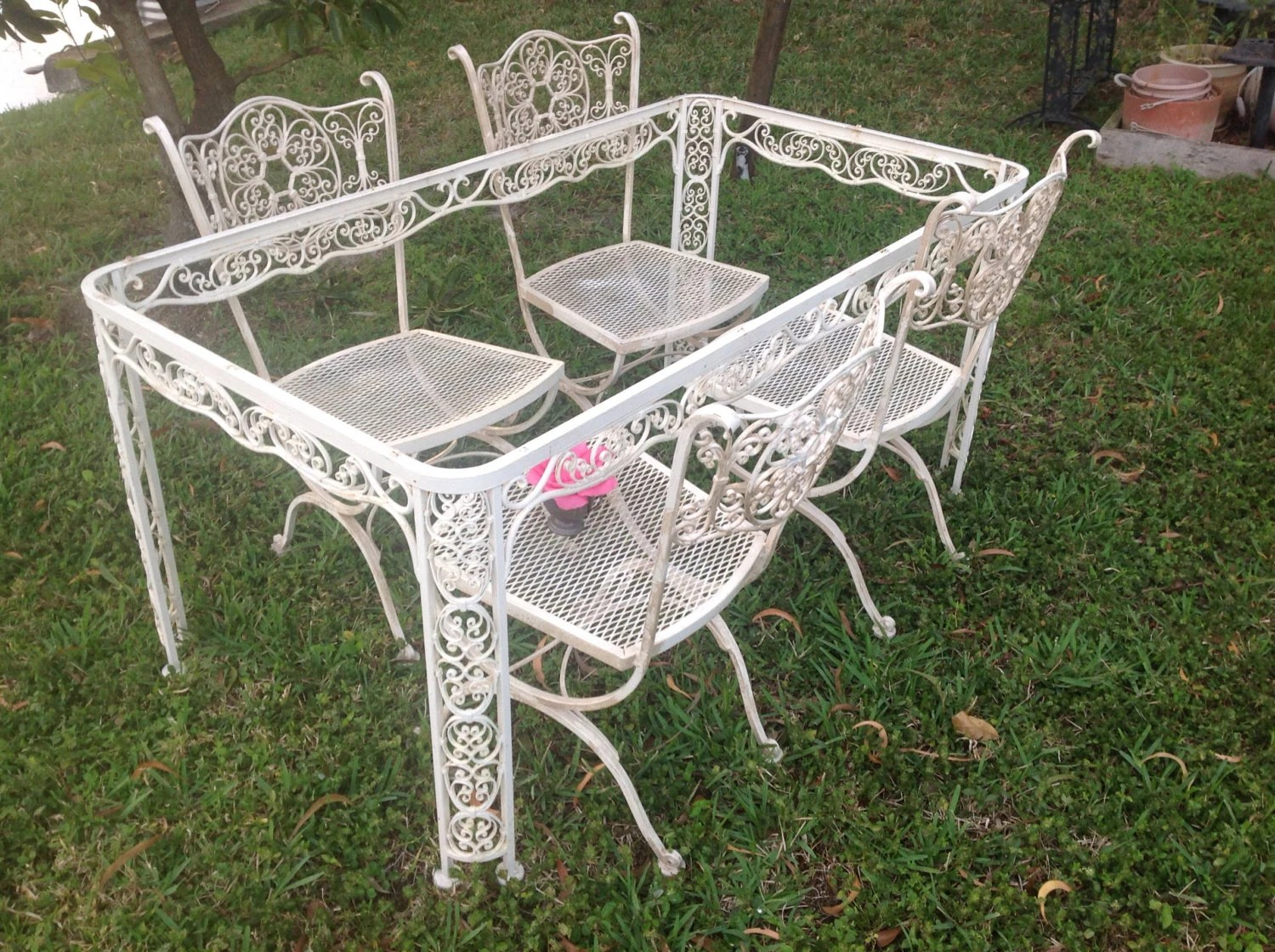 Iron Patio Chairs Shabby Chic Woodard Wrought Iron Chairs Vintage By