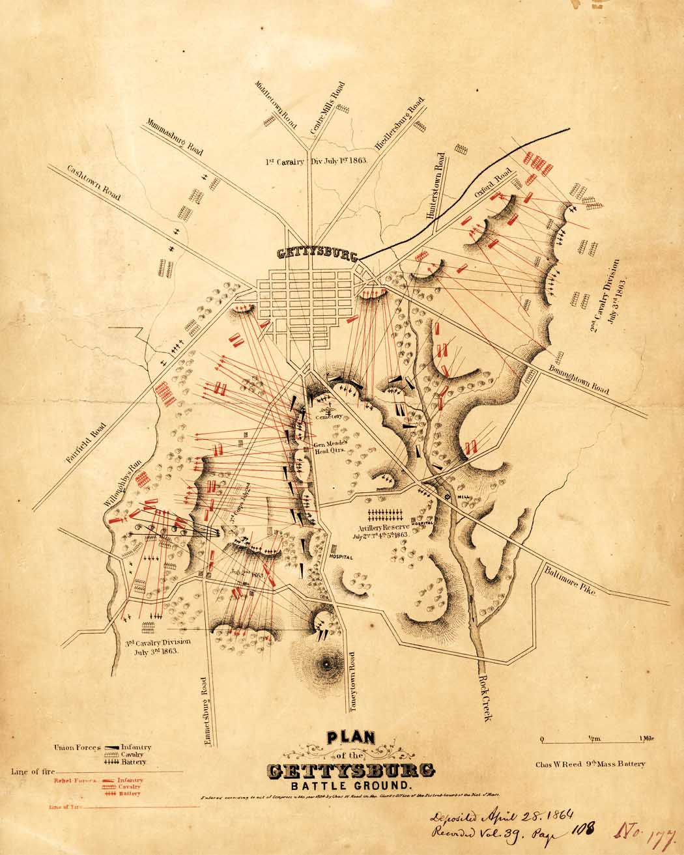 Antique Map Battle Of Gettysburg Civil War